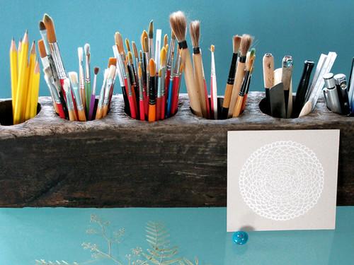 Geninne via blogdelanine, Mexican sugar cone mold, vessel, watercolor, brush, Three Potato Four shop, rustic decor, home ideas