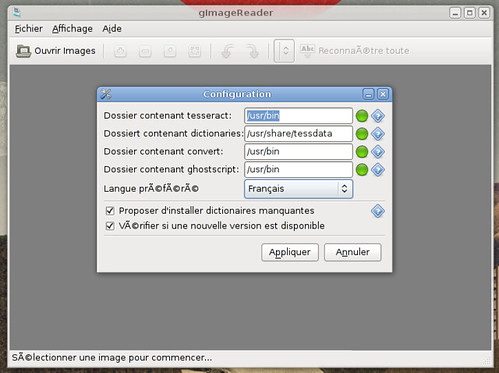 Configuration de gImageReader 0.6