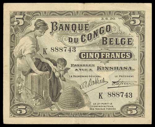 Banque du Congo-Belge, 5 francs