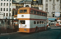Piccadilly Gardens, Manchester, 1980 (Lady Wulfrun) Tags: manchester october corporation southern stockport titan 1980 leyland 192 gmpte selnec eastlancs 5871 kja871f
