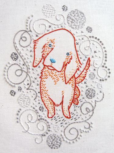 Orange puppy w/swirls finished