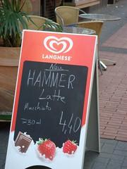 Hammer Latte (Kasmeneo) Tags: caf hammer germany deutschland hessen schild lustig latte werbung macchiato hassia strasencaf