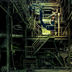 Structure (never ends) Tags: light up dark industrial factory smoke femme digitalart urbanexploration staircases monte usine blackdress reverie urbex escaliers industriel redeyes fume lavoir woma ambiant friche robenoire explorationurbaine vaporation goggleglass