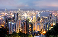 Hong Kong at Dusk (maciej.ka) Tags: china city longexposure night hongkong asia cityscape nightphoto thepeak  kowloon hongkongnight victoriapeak victoriaharbour   mountaustin hongkongdusk hongkongbluehour