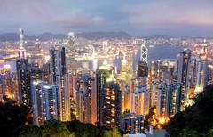 Hong Kong at Dusk (maciej.ka) Tags: china city longexposure night hongkong asia cityscape nightphoto thepeak  kowloon hongkongnight victoriapeak victoriaharbour   mountaustin hongkongdusk hongkongbluehour