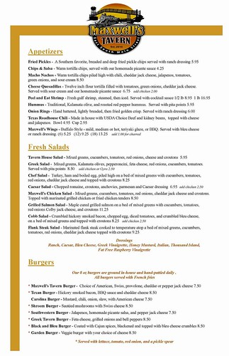 Maxwell's Tavern Early Revision menu Page 1