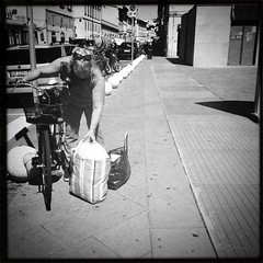 Modern Shopping (ale2000) Tags: street people bw woman shopping square donna strada gente candid 4 persone frame bici bags piazza bycicle borse bicicletta iphone spesa iphone365 hipstamatic helgavikinglens blackeyssupergrainfilm