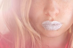 We live in a fake world (Danielle Pearce) Tags: pink white ice girl nikon lips sparkle blonde lip freckles tones d5000