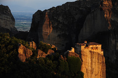 Roussanou Sunset 3 (Saumil U. Shah) Tags: world travel light sunset wallpaper golden rocks europe cliffs unesco greece monastery worldheritage shah meteora trekker luminosity saumil roussanou worldtrekker luminosityandlight saumilshah