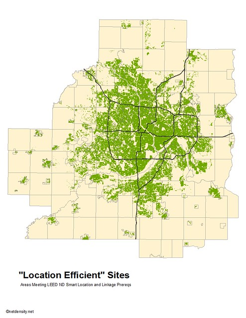 areas in green meet LEED-ND location criteria (by: Brendon Slotterback, (c) netdensity.com)