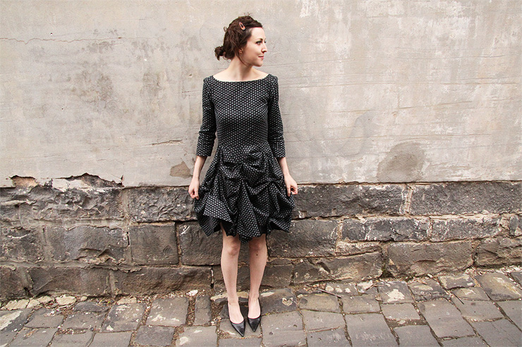 Spotted Ruffled Skirt Dress