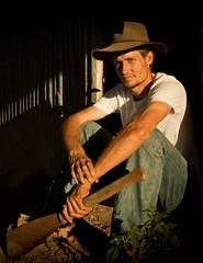 the farm (charlotterose83) Tags: light hat farm farmer akubra caneknife