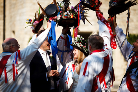 Surrounded by the Eynsham Morris Dancers
