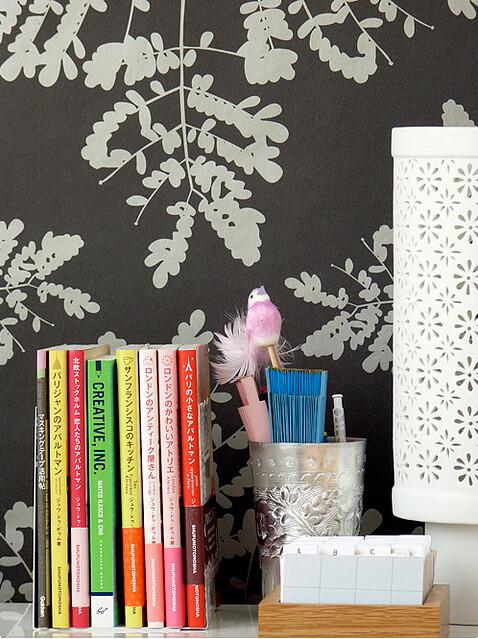 Creative books, wallpaper, decadent, pink, bird, floral, office, homeideas via decor8