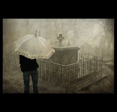 what i love in autumn (Eddi van W.) Tags: autumn green texture cemetery grave umbrella dark fun creativity mood tombstone digitalart gimp textures creativecommons meditation feeling spirituality hades deepness kreativitt spiritualitt eddi07 graphicmaster
