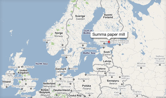 Location of the Summa paper mill, Google's new data center in Finland