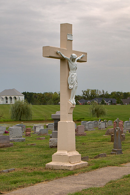 Saint Joseph Roman Catholic Church, in Josephville, Missouri, USA - crucifix in cemetery