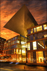 minneapolis central library (Dan Anderson.) Tags: sunset green art public minnesota architecture modern gold golden design downtown minneapolis twincities eco mn libarary hennepin fiery sustainable centrallibrary cesarpelli nicolletmall minneapoliscentrallibrary