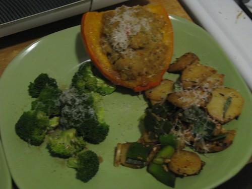 Stuffed squash, broccoli, potatoes