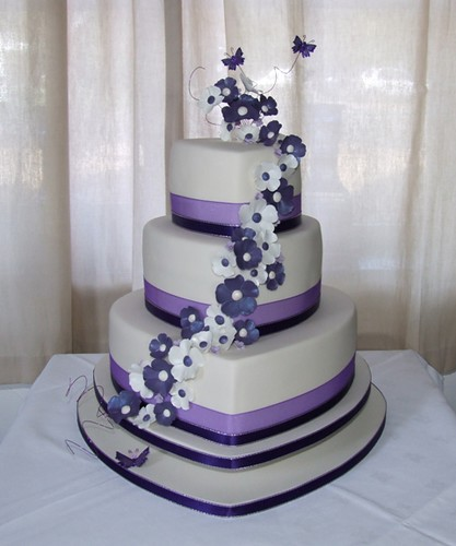 Ivory Purple Heart Wedding Cake