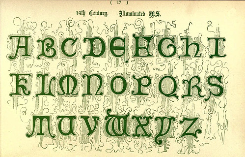015- Siglo XIV de un manuscrito iluminado- The book of ornamental alphabets, ancient and mediaeval..1914-F. Delamotte