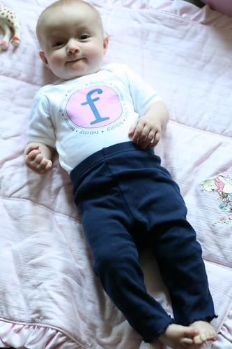 Slim -- Wearing a Onesie from Her Auntie Allison