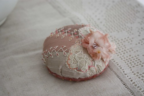 Rosy Silk Pincushion
