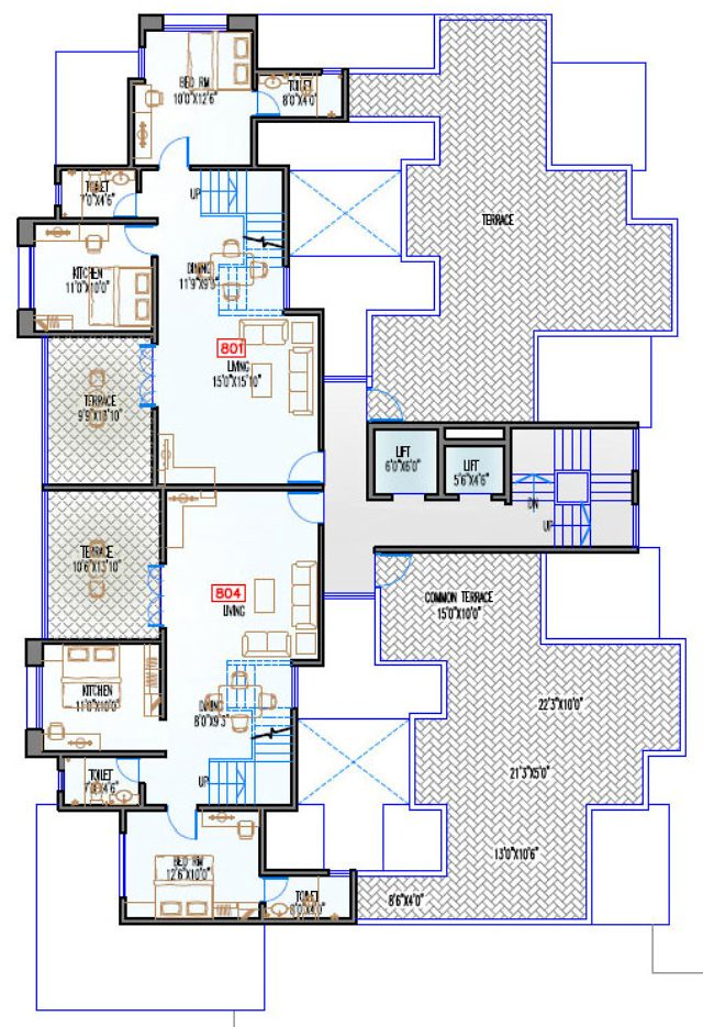 Navjeevan Properties'  Blue Bells, 2 BHK Flats opposite Pu La Deshpande Udyan on Sinhagad Road Floor Plan - 8th floor