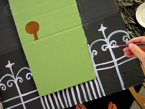 DIY Cardboard Haunted House (adding details) by Brenda Ponnay for Alphamom.com