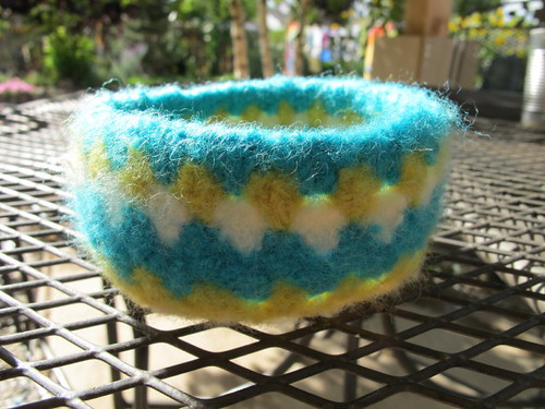 Felted granny square bowl