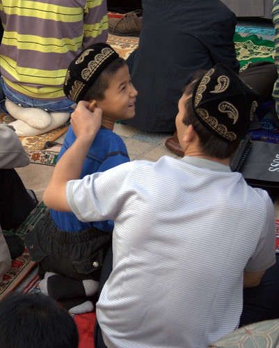 A Man and his Son at Id Kah Mosque on Eid Ul-Fitr