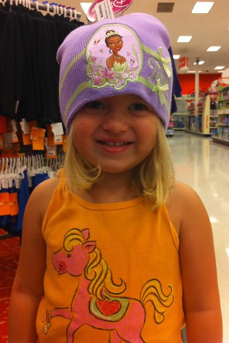 Trying on hats at Target