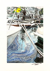 Oil and Snow (banana razor) Tags: winter snow cold reflection pen painting boats bc rope oil watercolour bellacoola realism tianakaczor artizenstudio jeanettejarville tkfinearts
