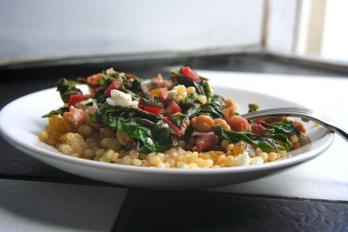 couscous with swiss chard, feta & golden raisins