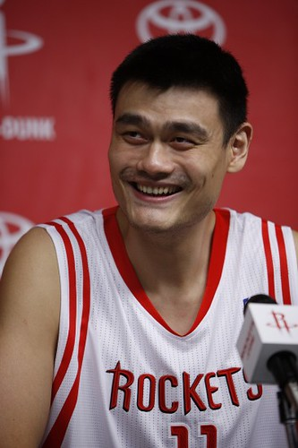 September 24th, 2010 - Yao Ming answers questions at his press conference during Media Day at Toyota Center in Houston