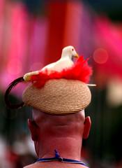 He wears it well! (joy7d) Tags: red bird hat festival bokeh feather glastonbury flags glasto glastonbury2009