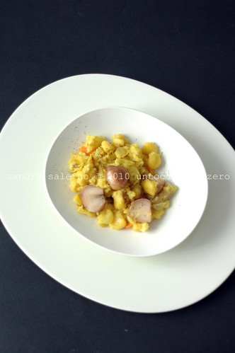 Mebel in cucina: insalata tiepida di cicerchie e lampascioni