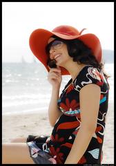 joy^2 (R__C) Tags: sardegna red portrait woman flower beach girl donna italia mare dress barche pregnant maternity vela rosso ritratto spiaggia cappello ragazza incinta poetto gravidanza maternit italiangirl ragazzaitaliana