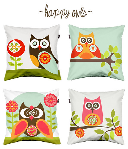 Happy Owls pillow covers