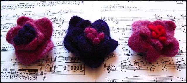 handknit felted flower brooches/pins knitting, knit, handknit, craft, crafty, handmade, original, colour, color, etsy