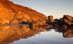 Stinson Beach Reflections, California (Sudheendra Kadri) Tags: california light sunset sea cliff seascape reflection beach nature water lines northerncalifornia rocks symmetry boulders stinsonbeach sudhi ca1 canon7d sudheendrakadri