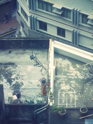 香港。上環的屋頂。跳房子。