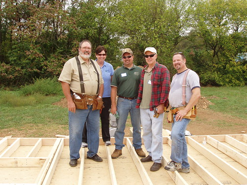 Rural Development employees participated in the Self-Help Build Day:  (l to r) Craig Burns (Area Director); Maryann Head (Area Technician); Chris Missimer (State Architect); Scott Mullin (Guaranteed Housing Specialist); and David Cain (Acting Housing Program Director/Multi-Family Housing Specialist).
