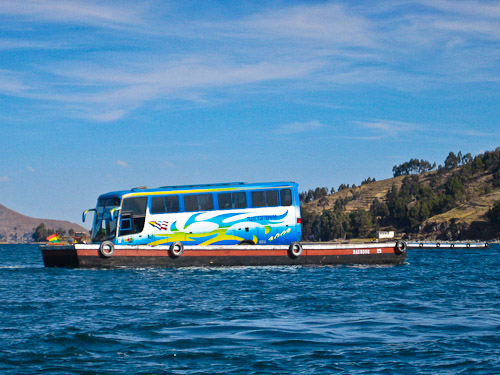 Bus crossing Lake Titicaca