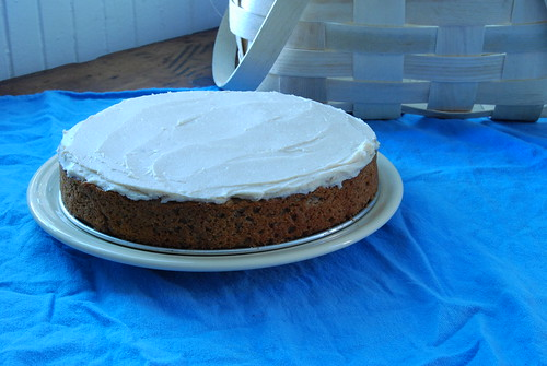 Apple sauce cake with cinnamon cream cheese frosting.