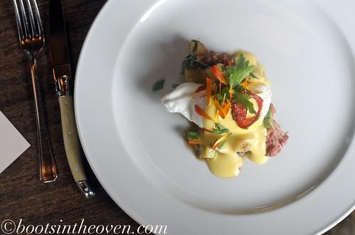 Beast Hash: Pork Shoulder Confit, Red Fingerling Potatoes, Summer Squash & Chard, Dancing Chicken Farm Poached Egg & Hollandaise