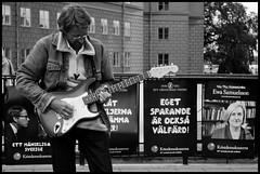 (Georgios Karamanis) Tags: street people bw music woman white man black poster sweden stockholm guitar workshop elections kristendemokraterna