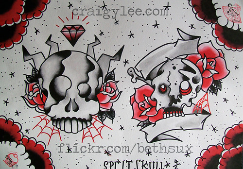 split skull tattoo flash by BethSUX From BethSUX