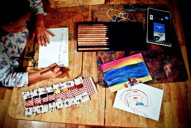 october :: this moment {drawing time for daddy...}