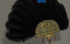 A beautifully detailed ostrich feather fan in the pharaoh's palace in virtual Amarna (Akhetaten) (mharrsch) Tags: fan ancient egypt feather ostrich 18thdynasty nefertiti akhenaten virtualworld meritaten amarna virtualenvironment mharrsch akhetaten heritagekey